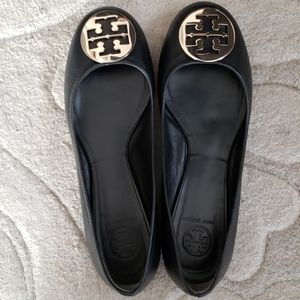 Brand New Tory Burch Reva Black Flats Gold Emblem